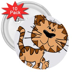 Cats Kittens Animal Cartoon Moving 3  Buttons (10 Pack)
