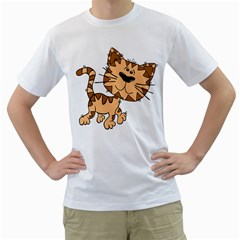 Cats Kittens Animal Cartoon Moving Men s T Shirt (white) (two Sided)
