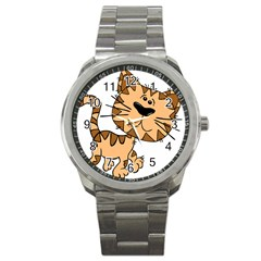 Cats Kittens Animal Cartoon Moving Sport Metal Watch