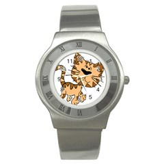 Cats Kittens Animal Cartoon Moving Stainless Steel Watch