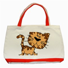 Cats Kittens Animal Cartoon Moving Classic Tote Bag (red)