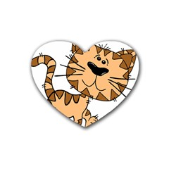 Cats Kittens Animal Cartoon Moving Heart Coaster (4 Pack)