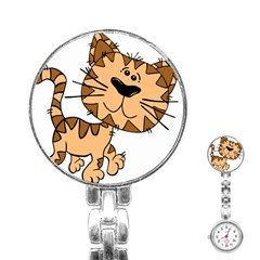 Cats Kittens Animal Cartoon Moving Stainless Steel Nurses Watch