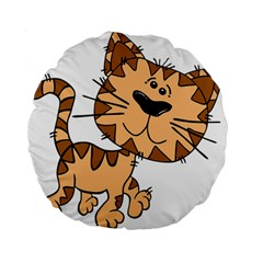 Cats Kittens Animal Cartoon Moving Standard 15  Premium Flano Round Cushions