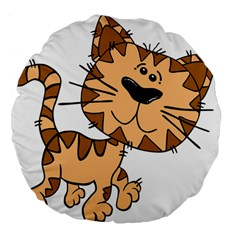 Cats Kittens Animal Cartoon Moving Large 18  Premium Flano Round Cushions