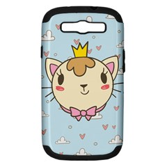Cat Cloud Heart Texture Kitten Samsung Galaxy S Iii Hardshell Case (pc+silicone)