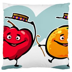 Dancing Fruit Apple Organic Fruit Large Cushion Case (two Sides) by Simbadda