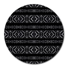 Futuristic Geometric Stripes Pattern Round Mousepads