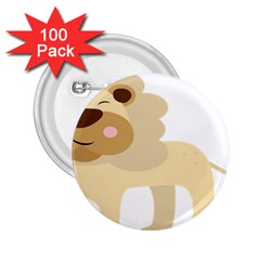 Lion Cute Sketch Funny 2 25  Buttons (100 Pack)  by Simbadda