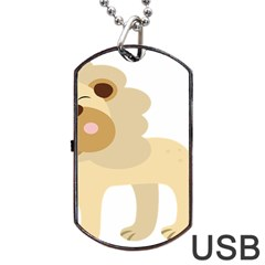 Lion Cute Sketch Funny Dog Tag Usb Flash (two Sides) by Simbadda