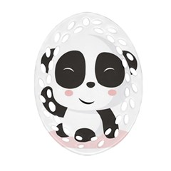 Panda Bear Funny Cute Oval Filigree Ornament (two Sides) by Simbadda