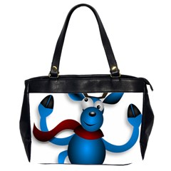Reindeer Dancing Blue Christmas Office Handbags (2 Sides)  by Simbadda