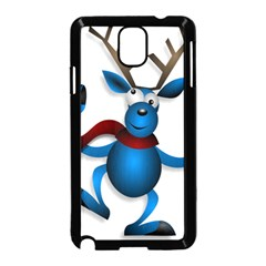Reindeer Dancing Blue Christmas Samsung Galaxy Note 3 Neo Hardshell Case (black) by Simbadda