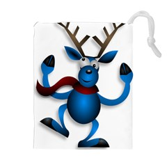 Reindeer Dancing Blue Christmas Drawstring Pouches (extra Large) by Simbadda