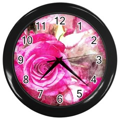 Rose Watercolour Bywhacky Wall Clocks (black) by bywhacky