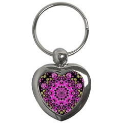 Namaste Decorative Flower Pattern Of Floral Key Chains (heart)  by pepitasart