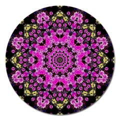Namaste Decorative Flower Pattern Of Floral Magnet 5  (round) by pepitasart