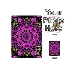 Namaste Decorative Flower Pattern Of Floral Playing Cards 54 (mini)  by pepitasart