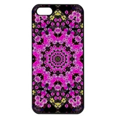 Namaste Decorative Flower Pattern Of Floral Apple Iphone 5 Seamless Case (black) by pepitasart