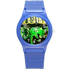 Old Tree And House With An Arch 6 Round Plastic Sport Watch (s) by bestdesignintheworld