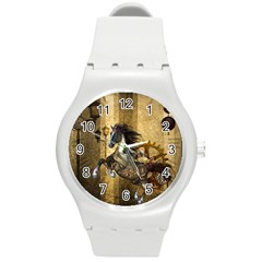 Awesome Steampunk Horse, Clocks And Gears In Golden Colors Round Plastic Sport Watch (m) by FantasyWorld7