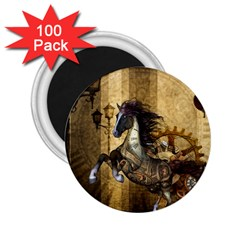 Awesome Steampunk Horse, Clocks And Gears In Golden Colors 2 25  Magnets (100 Pack)  by FantasyWorld7