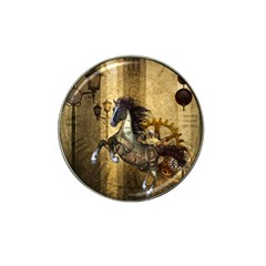 Awesome Steampunk Horse, Clocks And Gears In Golden Colors Hat Clip Ball Marker by FantasyWorld7