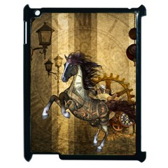 Awesome Steampunk Horse, Clocks And Gears In Golden Colors Apple Ipad 2 Case (black) by FantasyWorld7