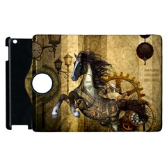 Awesome Steampunk Horse, Clocks And Gears In Golden Colors Apple Ipad 2 Flip 360 Case
