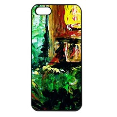 Old Tree And House With An Arch 5 Apple Iphone 5 Seamless Case (black) by bestdesignintheworld
