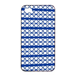 Circles Lines Blue White Apple Iphone 4/4s Seamless Case (black) by BrightVibesDesign
