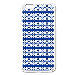 Circles Lines Blue White Apple Iphone 6 Plus/6s Plus Enamel White Case by BrightVibesDesign