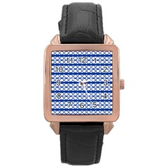 Circles Lines Blue White Pattern  Rose Gold Leather Watch  by BrightVibesDesign