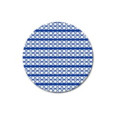 Circles Lines Blue White Pattern  Magnet 3  (round) by BrightVibesDesign