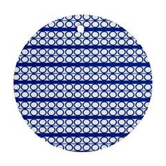 Circles Lines Blue White Pattern  Round Ornament (two Sides) by BrightVibesDesign