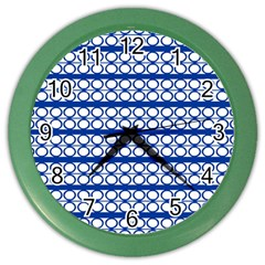 Circles Lines Blue White Pattern  Color Wall Clocks