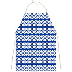 Circles Lines Blue White Pattern  Full Print Aprons by BrightVibesDesign