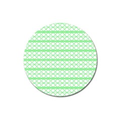 Circles Lines Green White Pattern Magnet 3  (round) by BrightVibesDesign