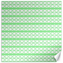 Circles Lines Green White Pattern Canvas 12  X 12   by BrightVibesDesign