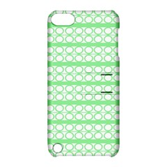 Circles Lines Green White Pattern Apple Ipod Touch 5 Hardshell Case With Stand