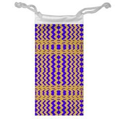 Purple Yellow Wavey Lines Jewelry Bag