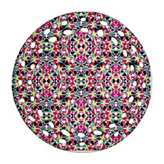Multicolored Abstract Geometric Pattern Round Filigree Ornament (two Sides) by dflcprints