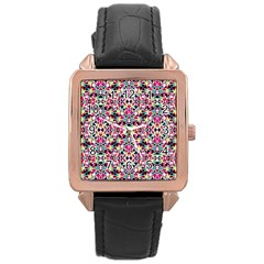 Multicolored Abstract Geometric Pattern Rose Gold Leather Watch  by dflcprints