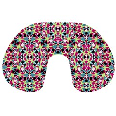 Multicolored Abstract Geometric Pattern Travel Neck Pillows by dflcprints