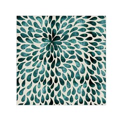 Teal Abstract Swirl Drops Small Satin Scarf (square) by snowwhitegirl