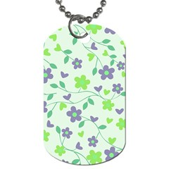 Green Vintage Flowers Dog Tag (two Sides) by snowwhitegirl