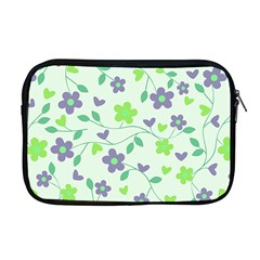 Green Vintage Flowers Apple Macbook Pro 17  Zipper Case by snowwhitegirl