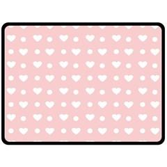 Hearts Dots Pink Double Sided Fleece Blanket (large)  by snowwhitegirl