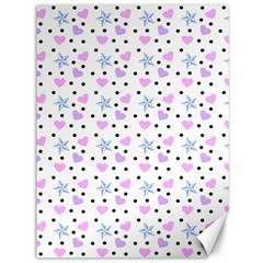 Hearts And Star Dot White Canvas 36  X 48   by snowwhitegirl