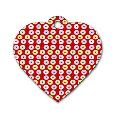 Eye Dots Red Pastel Dog Tag Heart (two Sides) by snowwhitegirl